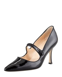 Campari Patent Leather Mary Jane, Black   Manolo Blahnik   Black (37.5/7.5)