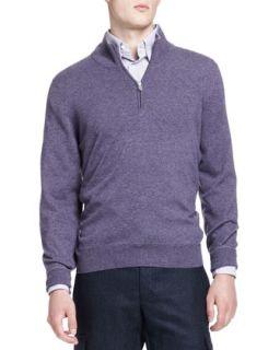 Mens 2 Ply Half Zip Pullover, Violet   Brunello Cucinelli   Violet (54)