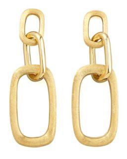 Murano 18k Brushed Gold Link Drop Earrings   Marco Bicego   Gold (18k )
