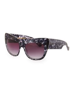 Alice Goes to Cannes Lace Print Sunglasses   Anna Karin Karlsson   Black