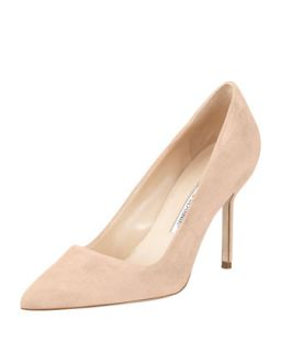 BB Suede 90mm Pump, Nude (Made to Order)   Manolo Blahnik   Nude (39.5B/9.5B)
