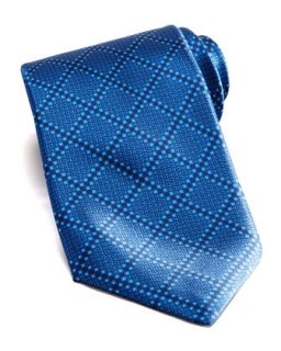 Mens Tonal Grid Silk Tie, Blue   Stefano Ricci   Blue
