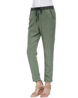 Womens Drawstring Weekend Pants, Sulfur Basil   AG Adriano Goldschmied