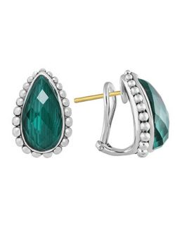 Silver Maya Malachite Half Hoop Stud Earrings   Lagos   Silver