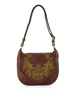 Baroque Applique Diana Crossbody Bag, Brandy   Isabella Fiore
