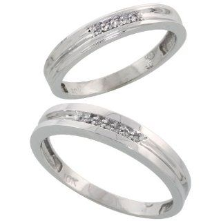 10k White Gold Diamond Wedding Rings Set for him 4 mm and her 3.5 mm 2 Piece 0.07 cttw Brilliant Cut, ladies sizes 5   10, mens sizes 8   14: Jewelry