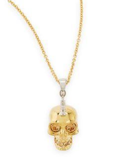 Golden Punk Skull Pendant Necklace, 28   Alexander McQueen   Gold