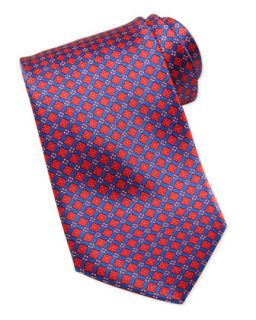 Mens Square Micro Flower Silk Tie, Red   Stefano Ricci   Red