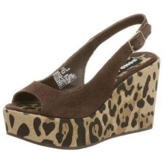Skechers Soho Lab Women's Leela Platform Wedge, Leopard Print Suede, 8 M Sandals Shoes