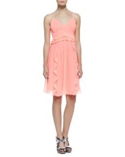 Womens Merengue Silk Spaghetti Strap Dress, Punch Pink   Nanette Lepore