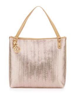 Borsa Metallic Woven PVC Tote Bag, Pink/Beige   Love Moschino