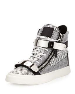 Mens Printed Zip & Buckle High Top Sneaker, Retriever Bianco   Giuseppe