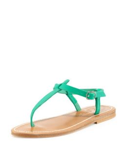 Picon Leather Thong Sandal, Mint Green   K. Jacques   Bright?mint green (37.