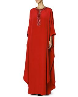 Womens Long Caftan with Jewel Trimmed Collar, Rosso Scur   Emilio Pucci