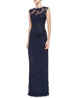 Womens Sleeveless Lace Illusion Neck Gown   Teri Jon   Navy (8)