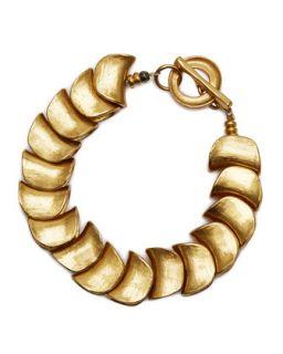 Small Gold Plated Shingle Bracelet   Robert Lee Morris   Gold