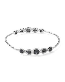 Stella Sterling Silver 10 Doublet Bangle in Hematite & Diamonds   Ippolita