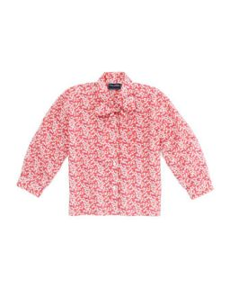 Girls Multi Use Floral Print Blouse, Red, 4Y 10Y   Oscar de la Renta