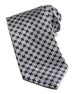 Mens Linked Tiles Silk Tie, Black   Stefano Ricci   Black