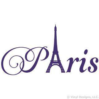 Paris Eiffel Tower Vinyl Wall Decal Sticker Art, Home Decor, Purple