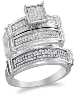 """.925 Sterling Silver Plated in White Gold Rhodium Diamond His & Hers Trio 3 Three Ring Bridal Matching Engagement Wedding Ring Band Set   Square Shape Center Setting w/ Micro Pave Set Round Diamonds   (2/5 cttw)   SEE """"PRODUCT DESCRIPTION"""" TO"""