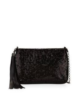 Mimi Sequin Mini Clutch Bag, Black   Eric Javits