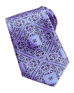 Mens Floral Medallion Pattern Silk Tie, Blue   Stefano Ricci   Brg 8