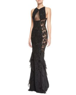 Womens Beaded Lace & Sheer Panel Gown, Nero Black   Emilio Pucci   Nero (42/8)