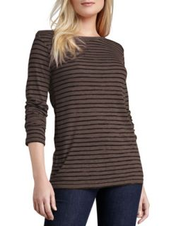 Womens Striped Soft Touch Top   Majestic Paris for    Orange (2 /