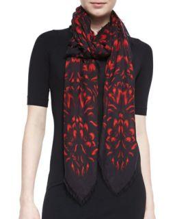 Floral Mosaic Shawl, Black/Red   Alexander McQueen   Blkred