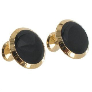 Gold Tone Metal Large Round Black Push Through Fixed Back Mens Cufflinks Cuff Links Jewelry