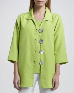 Womens Shantung Big Button Shirt, Petite   Caroline Rose   Lime (PL (12/14))