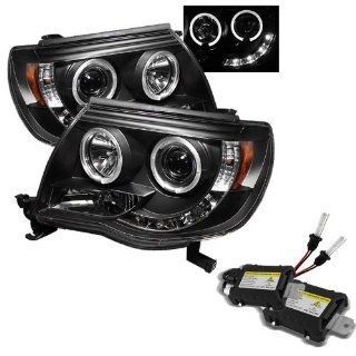 Carpart4u 6000K Xenon HID Performance Headlights Package for Toyota Tacoma Halo LED ( Replaceable LEDs ) Black Projector Headlights: Automotive