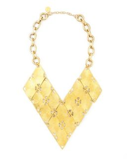 Golden Geometric Bib Necklace   Devon Leigh   Gold