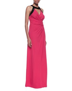 Womens Cutout Wrap Front Gown, Ruby/Black   Halston Heritage   Ruby/Black