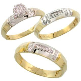10k Yellow Gold Diamond Trio Engagement Wedding Ring Set for Him and Her 3 piece 4.5 mm & 4 mm wide 0.10 cttw Brilliant Cut, ladies sizes 5   10, mens sizes 8   14: Jewelry