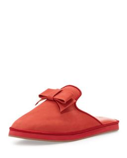 Daria Nubuck Bow Slipper, Red   Jacques Levine   Red (39.0B/9.0B)