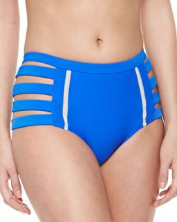 Womens Chloe Side Cutout High Swim Bottom   6 Shore Road   True blue (X SMALL)