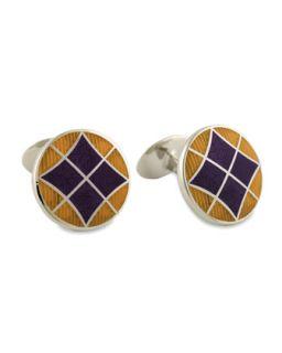 Mens Round Violet & Gold Cuff Links   David Donahue   Violet/Purple