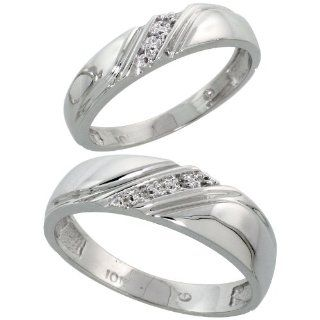 10k White Gold Diamond Wedding Rings Set for him 6 mm and her 4.5 mm 2 Piece 0.05 cttw Brilliant Cut, ladies sizes 5   10, mens sizes 8   14: Jewelry