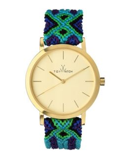 Maya Yellow Golden Watch with Crochet Band, Green/Blue/Multi   Toy Watch