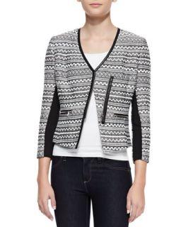 Womens Femme Fancy Tweed Jacket   Rebecca Taylor   Black/White (8)