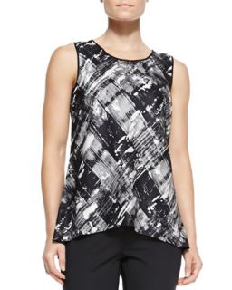 Womens Lucy Jersey Printed Sleeveless Top   Lafayette 148 New York   Black