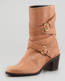 Dallas Buckled Strap Leather Boot, Camel   Stuart Weitzman   Camel (38.5B/8.5B)