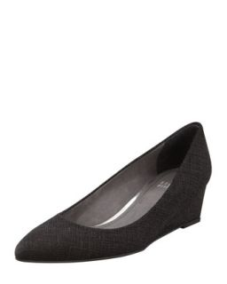 Nuevo Point Toe Saffiano Wedge, Black   Stuart Weitzman   Black (40.0B/10.0B)