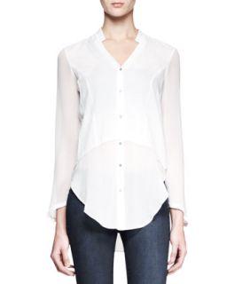 Womens Lawn Buttoned Sheer Panel Shirt   Helmut Lang   White (PETITE)