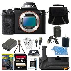 Sony ILCE 7S/B a7S Full Frame Camera 32GB SDHC Card, Battery Grip Bundle