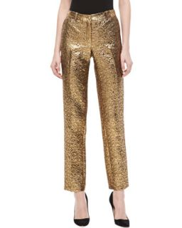 Womens Samantha Pebble Brocade Skinny Pants   Michael Kors   Gold (6)