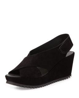 Federica Suede Platform Sandal, Black   Pedro Garcia   Black (10B)