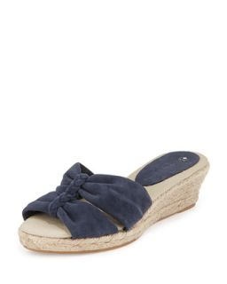 June Braided Espadrille Wedge, Navy   Jacques Levine   Navy (40.0B/10.0B)
